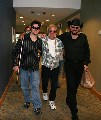 My brother Sean and I carrying Pop through the hospital and making it look like he's walking.